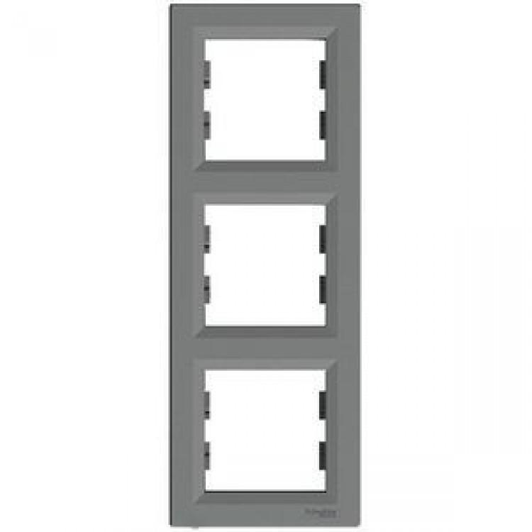 Рамка 3-местная вертикальная Сталь Asfora Schneider Electric, EPH5810362
