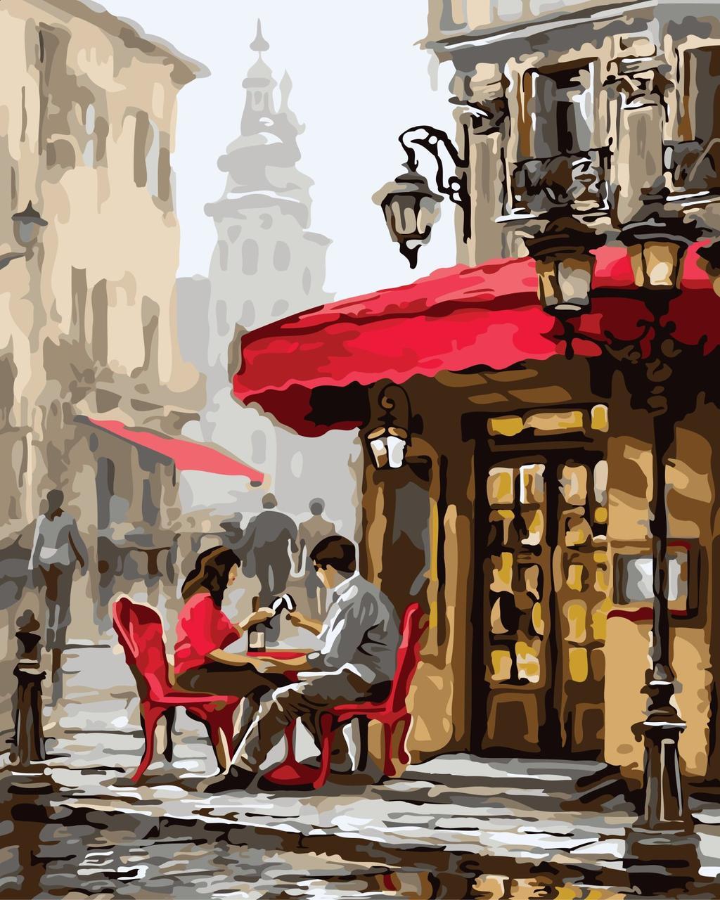 КНО2144 Раскраска по номерам Свидание в кафе, В картонной коробке
