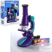 Детский развивающий Микроскоп, масштаб увеличения: 100Х, 200Х, 450Х, размер 13х7х21см, фиолетовый-бирюзовый*