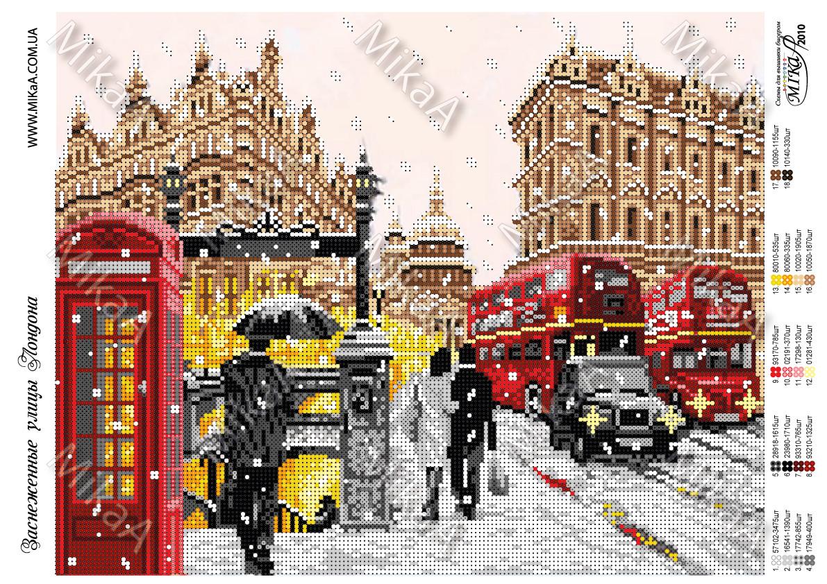 """Схема для частичной вышивки бисером - """"Заснеженный Лондон"""""""