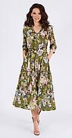 Платье TEFFI style-1387-3 белорусский трикотаж, таинственные цветы, 44