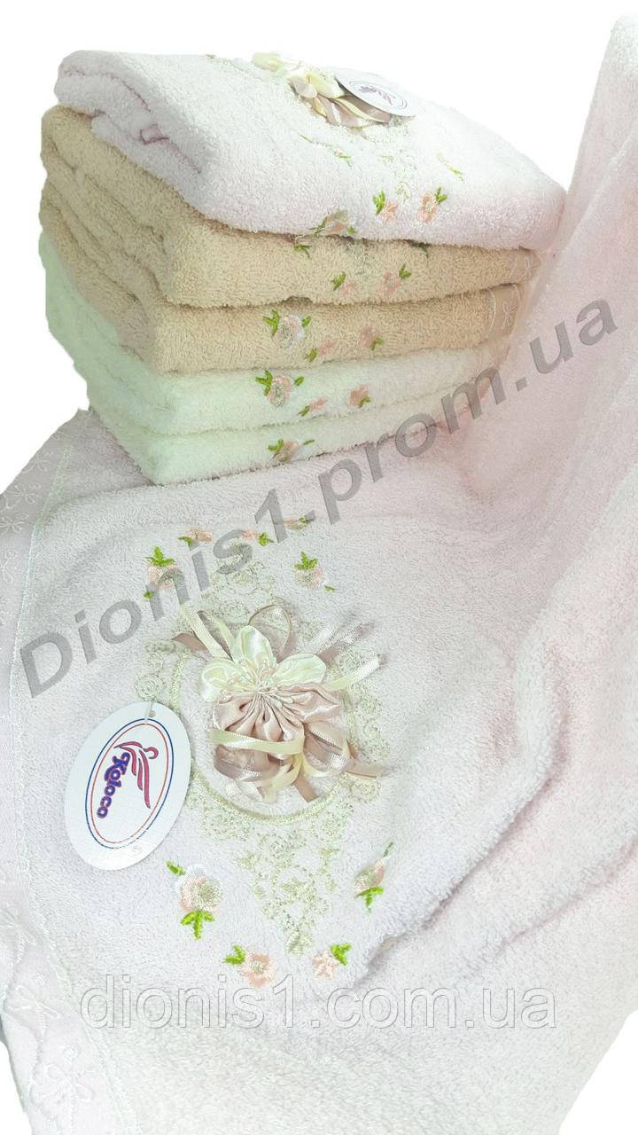 Лицевое полотенце Вышитые цветочки махра размер 50*90 6 шт в уп. махра