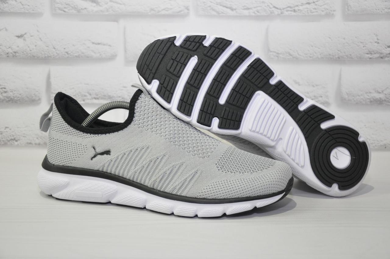 Серые лёгкие мужские кроссовки сетка без шнурков в стиле Puma 44 размер
