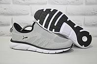 Серые лёгкие мужские кроссовки сетка без шнурков в стиле Puma 44 размер, фото 1