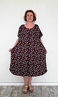 Трикотажный летний халат женский супер большие размеры