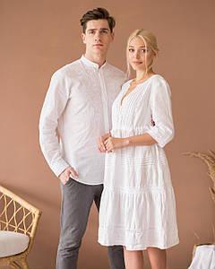 Парні вишиванки лляна сукня та сорочка