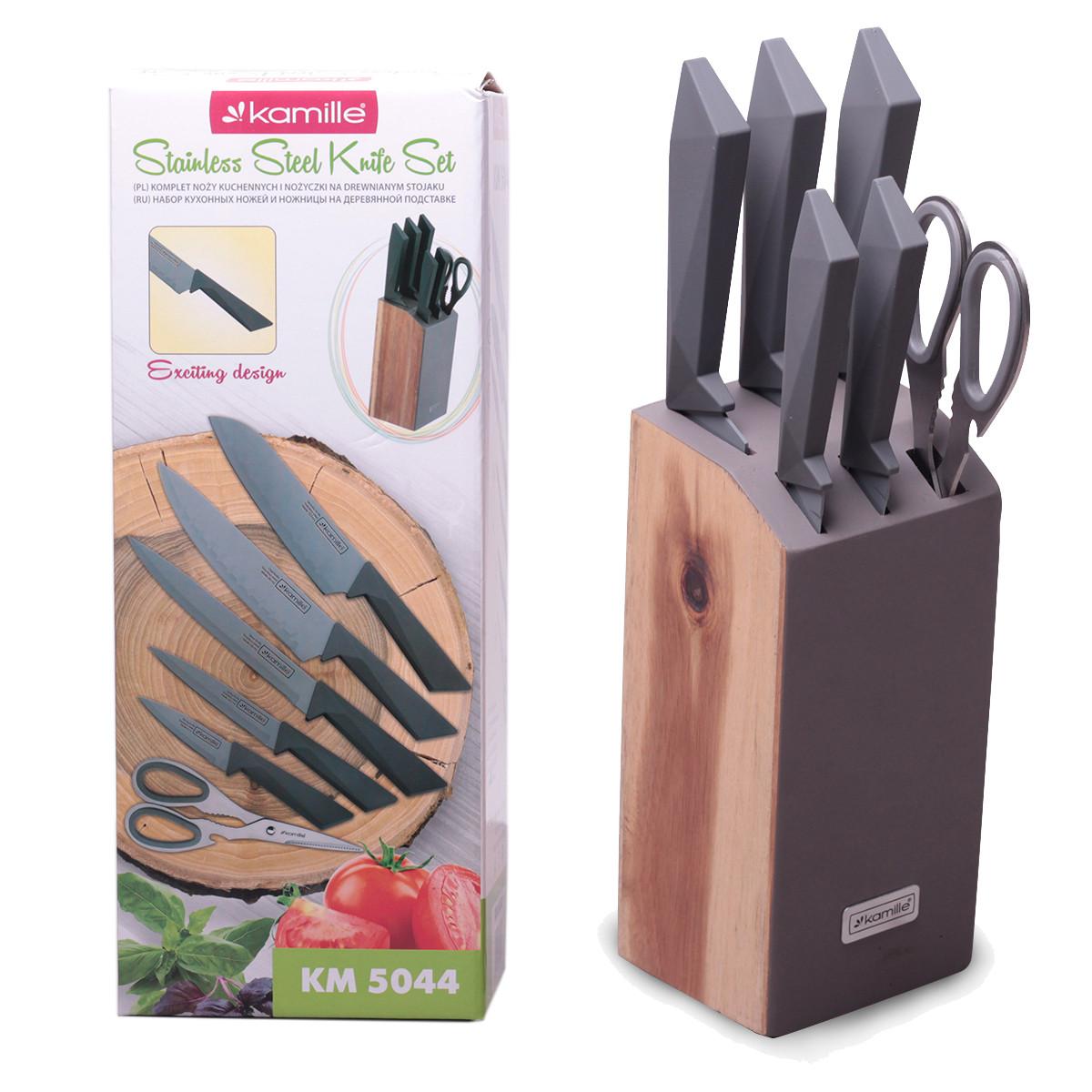 Набор ножей и ножницы Kamille 7 предметов из нержавеющей стали на деревянной подставке KM-5044