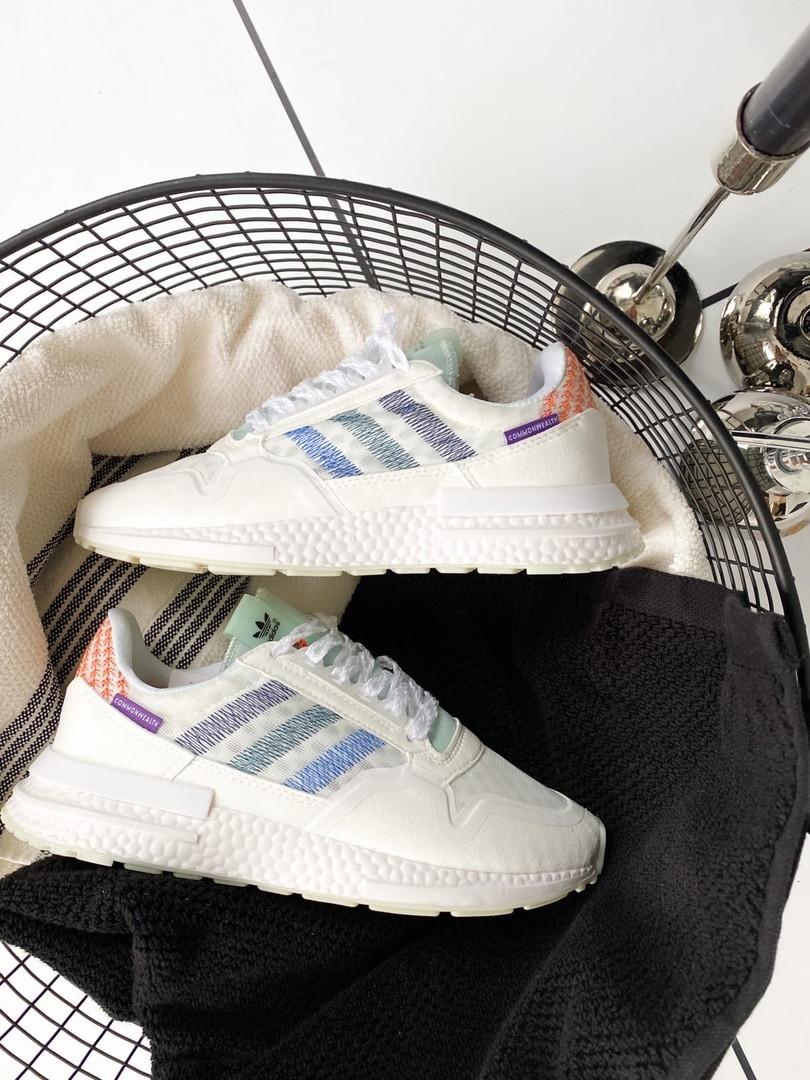 Кроссовки мужские Adidas ZX 500 RM White/Blue. Стильные мужские белые кроссовки.