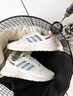Кроссовки мужские Adidas ZX 500 RM White/Blue. Стильные мужские белые кроссовки., фото 1