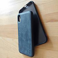 Винтажный кожаный синий чехол бампер для айфон iphone XR / xr