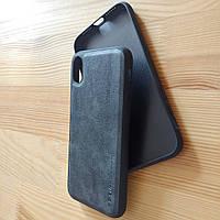 Винтажный кожаный черный чехол бампер для айфон iphone XR / xr