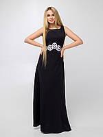 Красивое длинное черное платье с белой вышивкой под грудью (Диамант lzn)