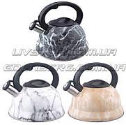 Чайника металл свистящий 3л мраморный цвет EDENBERG EB-1350