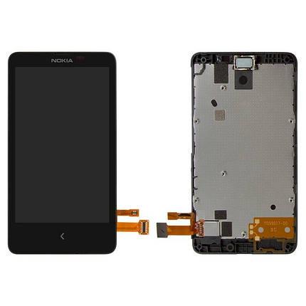 Дисплей (екран) для Microsoft (Nokia) X Dual Sim (RM-980) з сенсором (тачскріном) і рамкою черный, фото 2