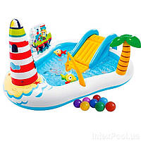 Надувний ігровий центр Intex 57162-1 «Весела Рибалка», 218x188x99 см, з надувною вудкою, 2 рибки, з кульками