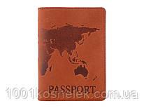 Кожаная обложка для паспорта Map Red