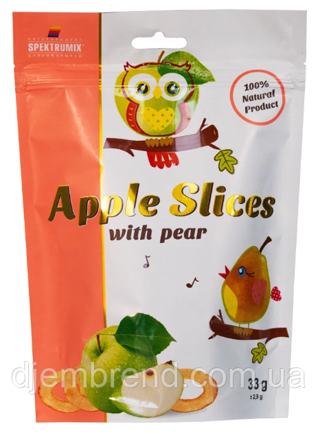 Слайсы яблочные сушеные с грушей Apple Slices, 33 г