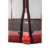 Батут Atleto 252 см з подвійними ногами з сіткою червоний, фото 3