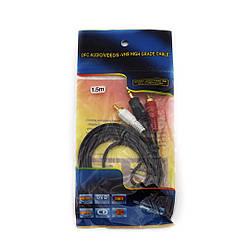 Аудио-видео кабель AV 3.5 Jack (тюльпан 2), 1.5 m (в пакете)