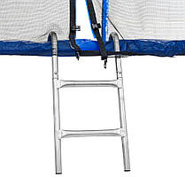 Батут Atleto 183 см з подвійними ногами з сіткою + драбинка синій, фото 2
