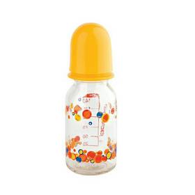 Бутылочка для кормления «Курносики» стеклянная с силиконовой соской. 130 мл