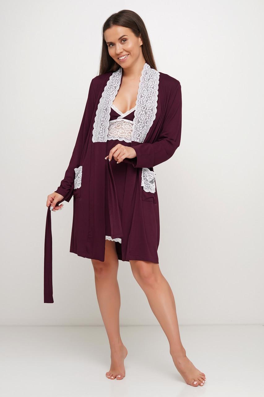 Женский вискозный  пеньюар и халатик с кружевом