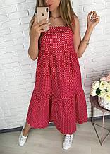 Женское летнее натуральное льняное миди платье свободного кроя в горошек с карманами размеры от 42 по 52