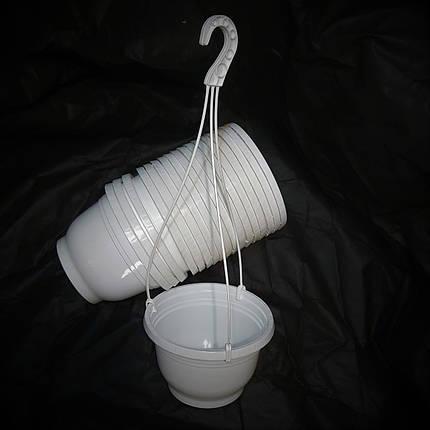 Кашпо подвесные белые - 20.5*14.5 - 3.0 л - Емкости для растений, фото 2