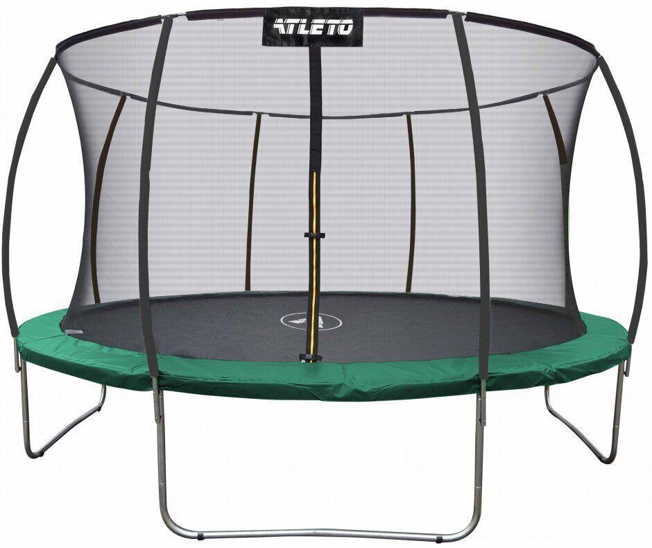 Батут діаметром 374 см Atleto з внутрішньої сіткою і максимальним навантаженням до 150 кг зелений