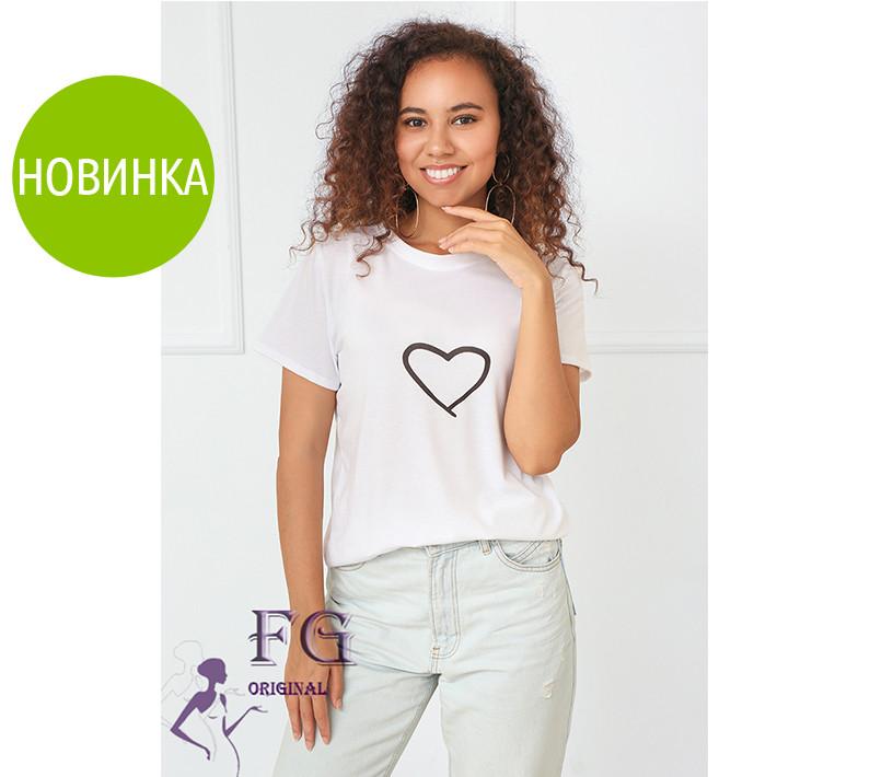 """Белая футболка с принтом """"Heart"""""""