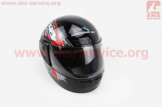 Шлем закрытый HF-101 S- ЧЕРНЫЙ с красно-серым рисунком Q23-R цепь