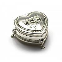 Шкатулка для украшений Сердечко Серебро (47104)