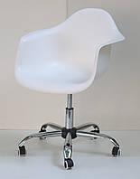 Кресло пластик на колесах LEON office (Леон) белый, кресло мастера