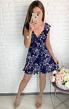 Легкое летнее на запах мини платье  Цвет сиреневый, темно-синий, голубой, розовый, кофейный