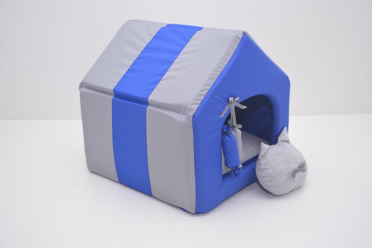 Домик для котов и собак Комфорт лето синий №1 300х330х330