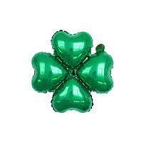 """Фольгированный шар клевер зелёный 18"""" (Китай)"""