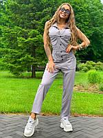 Льняной серый женский комбинезон