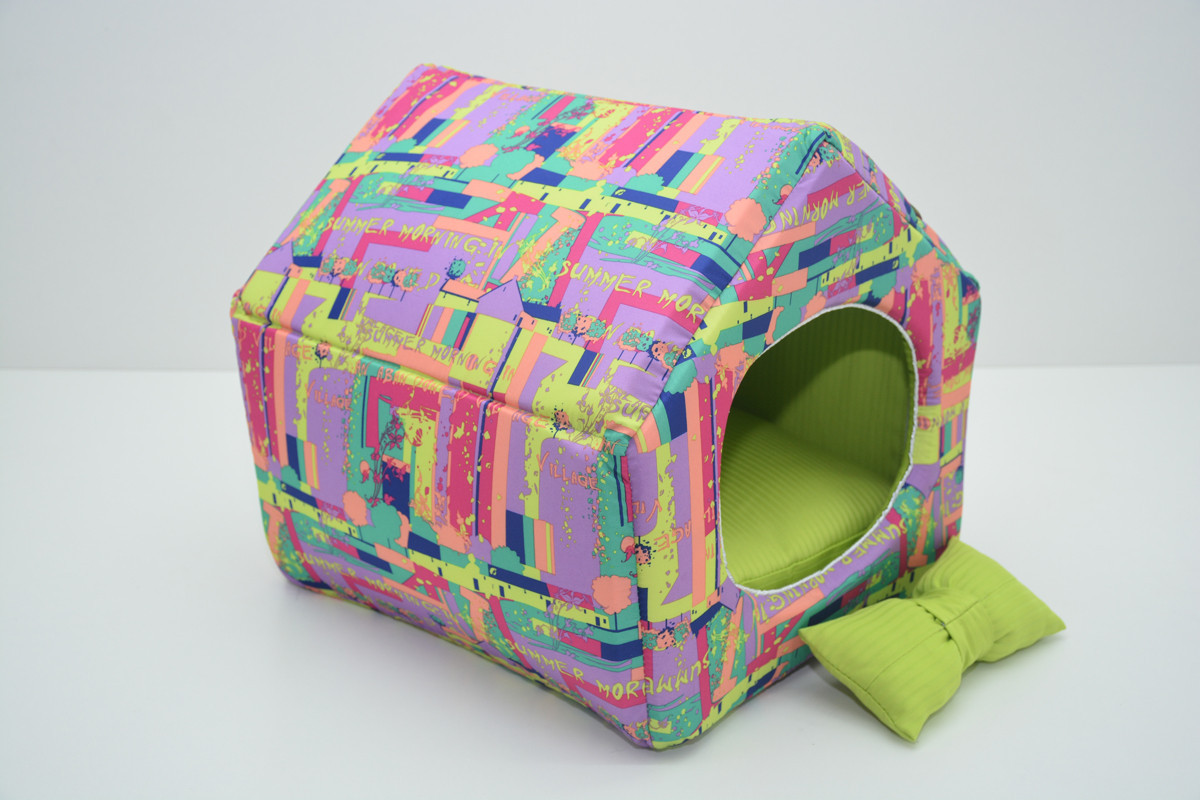 Домик для котов и собак Акварель салатовый №2 34,5х39х38,5 см