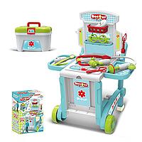 """Набор доктора для детей """"3 в 1"""" 008-929 с чемоданом, стол, тележка, тачка, в коробке."""