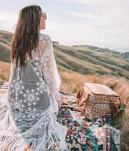 Белая пляжная накидка со звездами и бахромой 42-46 р, фото 3