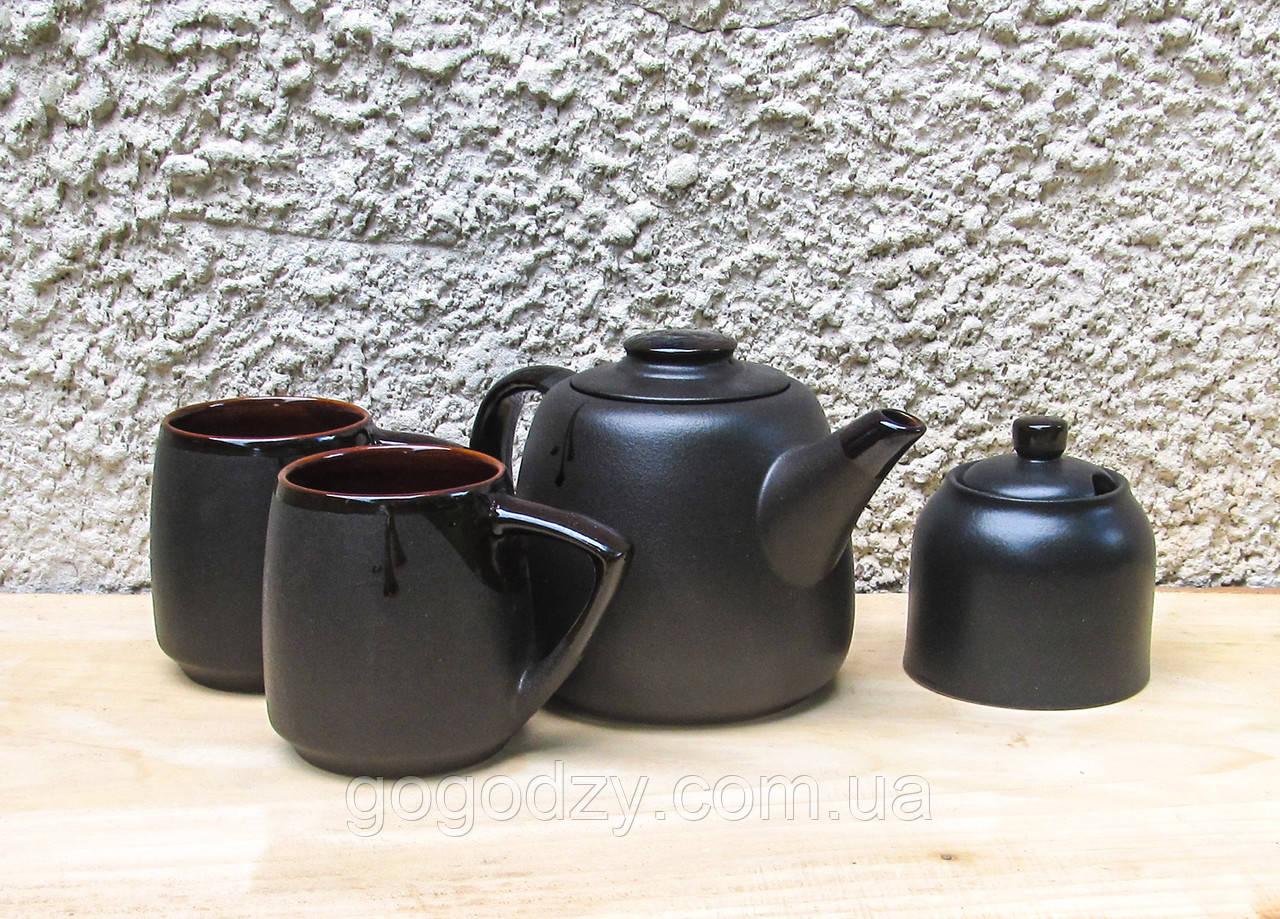 Чайний набір Велет з цукерничкою на 2 особи чорний