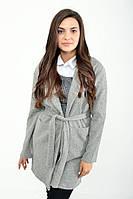 Женский хлопковый удлиненный серый кардиган, женский пиджак с поясом