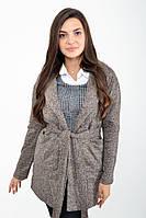 Женский хлопковый удлиненный коричневый кардиган, женский пиджак с поясом