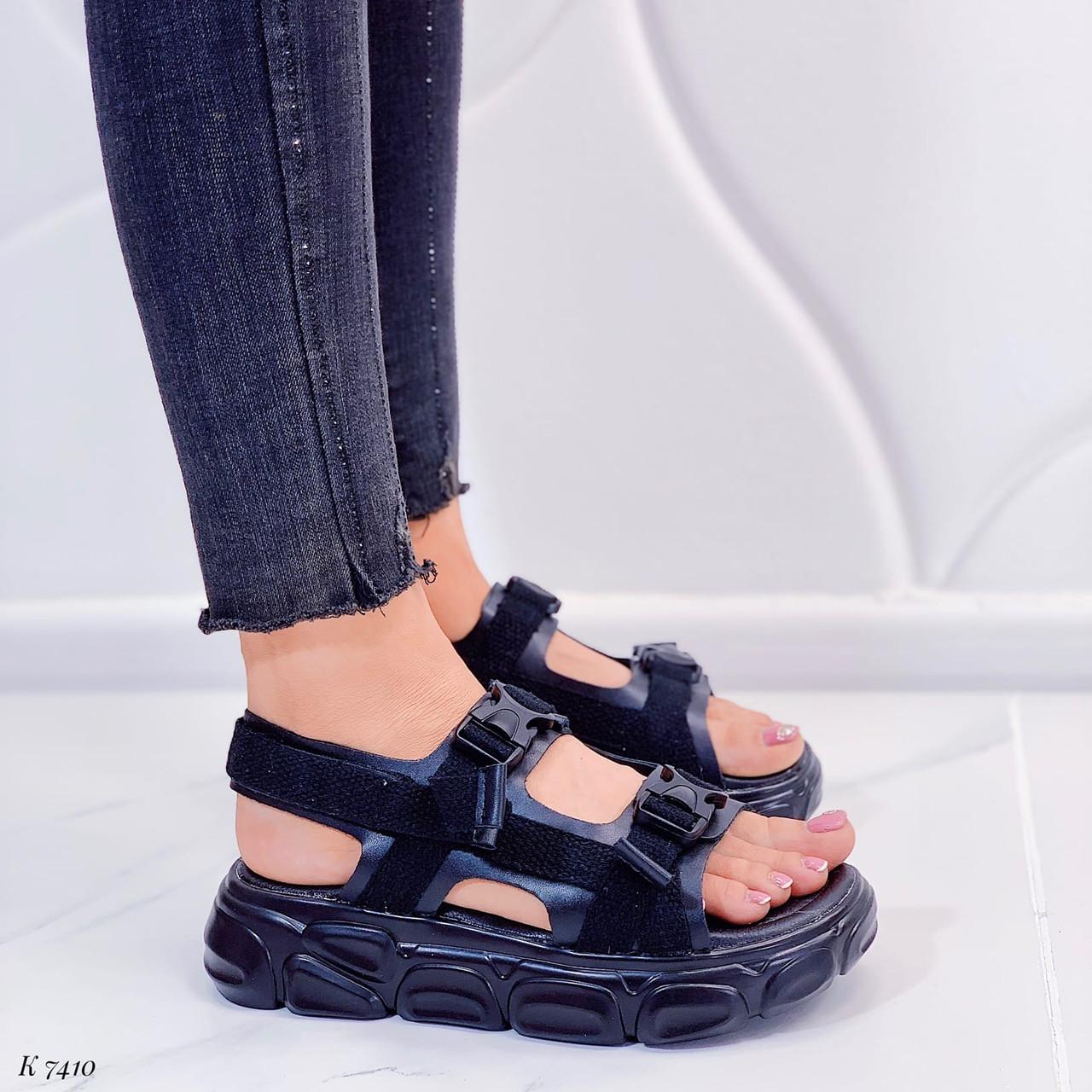 Женские босоножки спортивные черные эко-кожа + текстиль