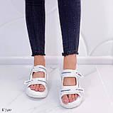 Жіночі босоніжки спортивні білі на платформі 5 см еко-шкіра+ текстиль, фото 2
