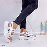 Жіночі босоніжки спортивні білі на платформі 5 см еко-шкіра+ текстиль, фото 4