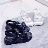 Жіночі босоніжки спортивні білі на платформі 5 см еко-шкіра+ текстиль, фото 8
