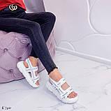 Жіночі босоніжки спортивні білі на платформі 5 см еко-шкіра+ текстиль, фото 3