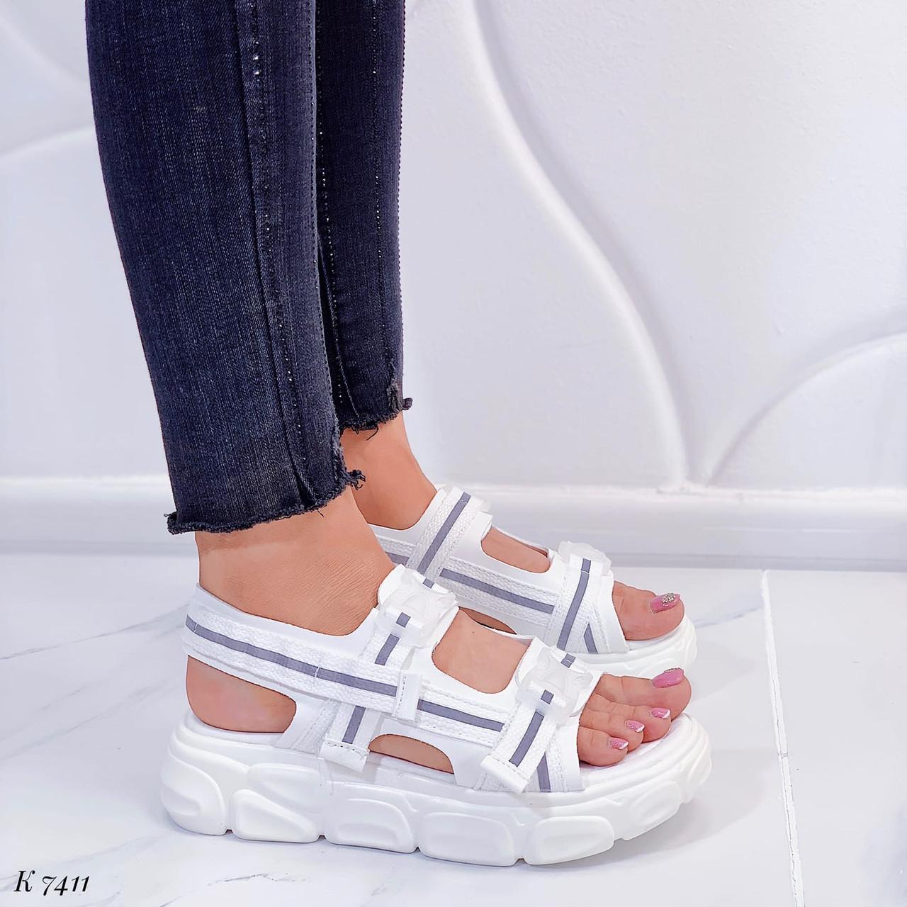 Жіночі босоніжки спортивні білі на платформі 5 см еко-шкіра+ текстиль