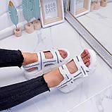 Жіночі босоніжки спортивні білі на платформі 5 см еко-шкіра+ текстиль, фото 5